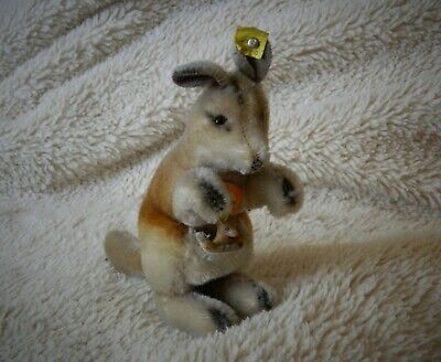 STEIFF VINTAGE 1959 MOHAIR KANGOO KANGAROO & BABY JOE 4314,00 BUTTON & ALL IDs
