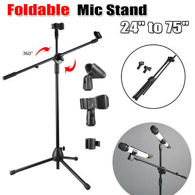 """Microphone Boom Stand Dual Mic Clip Holder Arm Adjustable 24-75"""" Foldable Tripod"""