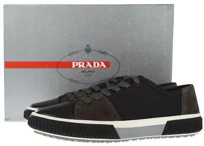 296ef031 NEW PRADA MEN'S Black Gray Leather Suede Low Top Sneakers Shoes 10/us 11