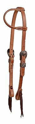 Harness leather one ear bridle headstall copper floral buckle cowboy USA H355
