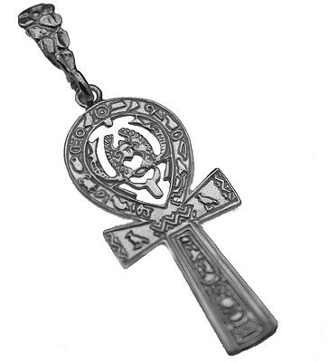 LOOK HUGE Ankh Egyptian Egypt Genuine Pure Sterling Silver .925 Pendant scarab b