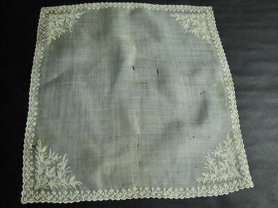 Antique Wedding Hankie Handmade Ayrshire Whitework Embroidery & Lace Imperfect