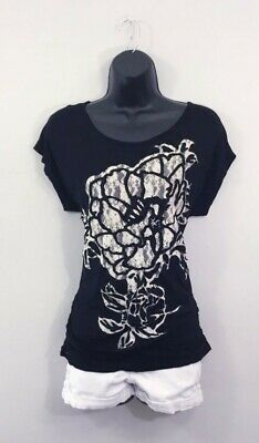 Women's Moa Moa Black With White Lace Flower Top Size Large