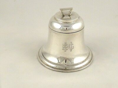 Antique English Sterling Silver Inkwell In Form Of Bell Ink Pot Birmingham 1909