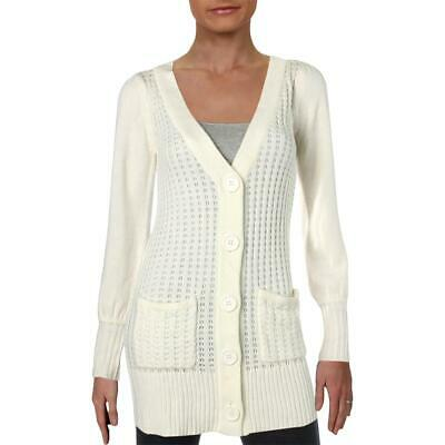 XOXO Womens Ivory Cable Knit V-Neck Winter Cardigan Sweater Top S BHFO 4488