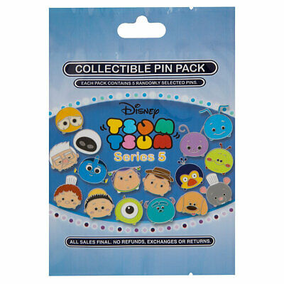 Disney Parks Tsum Tsum Series 5 Mystery 5 Pin Pack Bag Pouch Sealed - NEW
