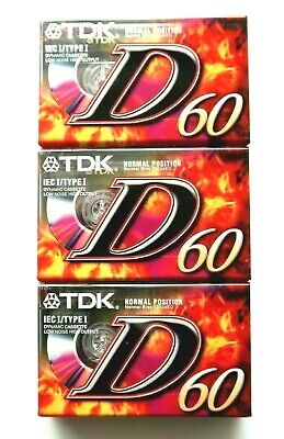 3 X Tdk D 60 Dynamic Normal Position Type I Blank Audio Cassette Tapes