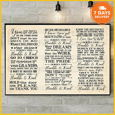 Humble And Kind Lyrics Poster Tim McGraw Horizontal Paper Poster Without Frame