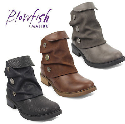Womens Blowfish Vynn Button Boots Charcoal Tombstone Boots