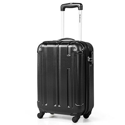 """18"""" ABS Luggage Suitcase Carry On Lightweight Hardshell 4-Wheel Spinner Black"""