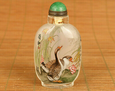 Antique 100% fine Old glass Hand-paining duck art Statue snuff bottle noble gif