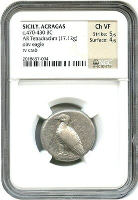 470-430 BC Acragas AR Tetradrachm NGC Ch VF (Ancient Greek)
