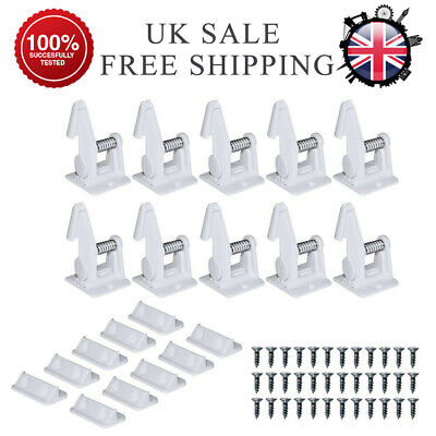 10PCS Invisible Child Baby Safety Locks Adhesive Drawer Cabinet Cupboard Latches