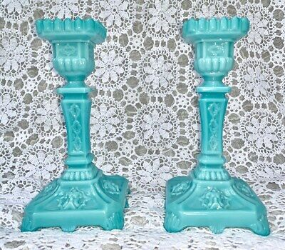 Antique French Pair Portieux Vallerysthal Blue Opaline Milk Glass Candlesticks