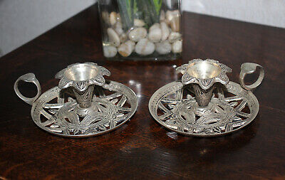 Lovely Vintage Pair of Ornate Silver Plated Middle Eastern Style Chambersticks