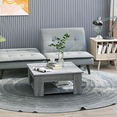 Coffee Table 2 Tier Accent End Console Table Bottom Shelf Storage Living Room
