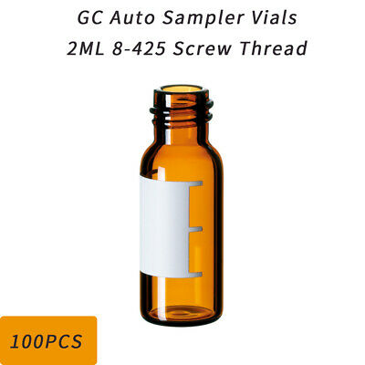 100PCS 8-425 2ML Screw Thread Amber Sampler Vials Graduated GC w/Patch