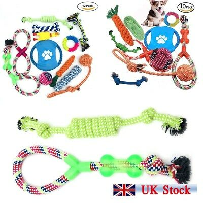 12x Dog Rope Toys Kit Tough Strong Chew Knot Ball Pet Puppy Bear Cotton Toy UK