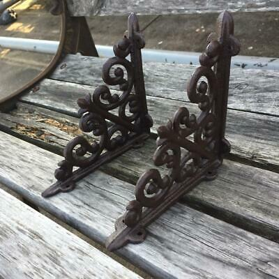 1Pair Vintage Antique Cast Iron Brackets Garden Brace Rustic Shelf Bracket Brown