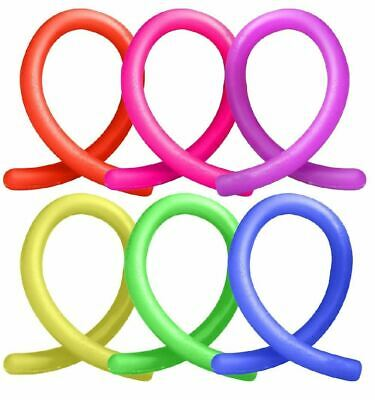 6x Stretchy Noodle String Neon Kids Childrens Fidget Stress Relief Sensory Toy