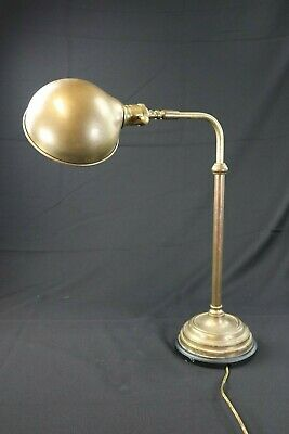 Vtg Solid Heavy Brass Bankers Telescoping Adjustable Desk Table Lamp