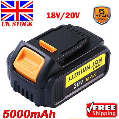 For Dewalt DCB182 DCB184 18V/20V 5.0Ah XR Li-Ion Battery To Fit DCB181 DCD780 UK