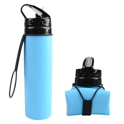 Collapsible Silicone Travel Sport Folding Drink Water Bottle Kettle Cup 600ML