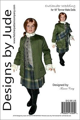 "Outlander Wedding Jamie Doll Clothes Sewing Pattern 19"" Tonner Mortimer Peter"