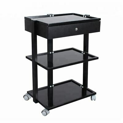 Glass Salon Trolley Beauty Hair Spa Product Display Cabinet 1 drawer black