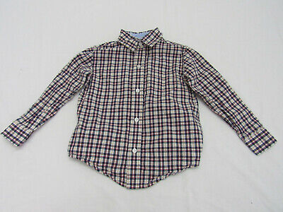 Janie and Jack Button Front Shirt Plaid Dark Boys Toddler Size 3