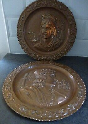 Two Vintage Copper Hand Crafted Plates Wall Hangings Plaques