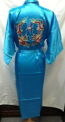 Rayon Robe Chinese Embroidered Double Dragon Kimono with Waist Tie