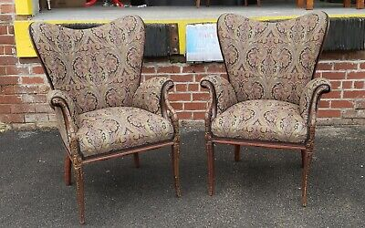 Fine Pair Carved Mahogany 1920s Upholstered Fireside Fireplace Library Armchairs