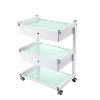 Glass Salon Trolley Hairdressing Beauty Cart Spa Display Cabinet White 2 drawer