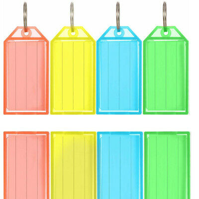 Pack of 100 Plastic Colour Key Tags with Paper Inserts Split Rings Heavy Duty