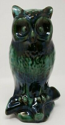 Blue Mountain Pottery Large Owl Glazed Green Hues  Rare Collectors Item