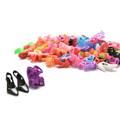 Randomly 40 Pairs Doll Shoes Assorted Colorful Heels for s Outfit Dress oq