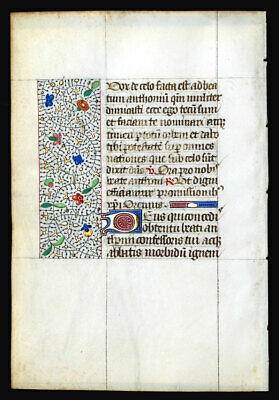 Medieval Illuminated Manuscript  Book Of Hours Leaf 1450, Borders, Gold