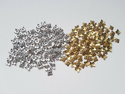 100 x Jewellery Beadcaps - 6mm - Square [Gold Plated/Silver Plated Available]