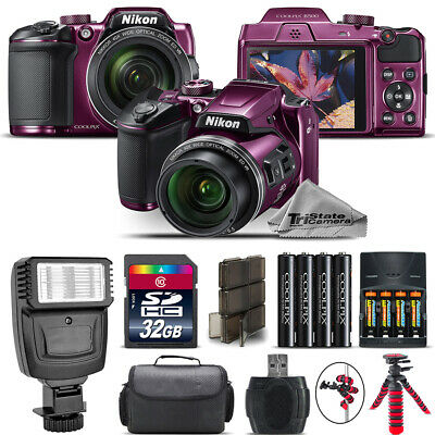 Nikon COOLPIX B500 Plum Camera 40x Optical Zoom + Flash + Case - 32GB Kit Bundle