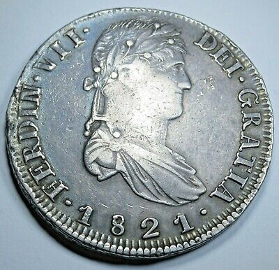 1821 RG Zs XF-AU Spanish 8 Reales Zacatecas Silver Rare Eight Real Dollar Coin