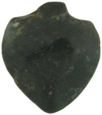 African trade bead old green Agate stone bead pendant heart Ghana trade