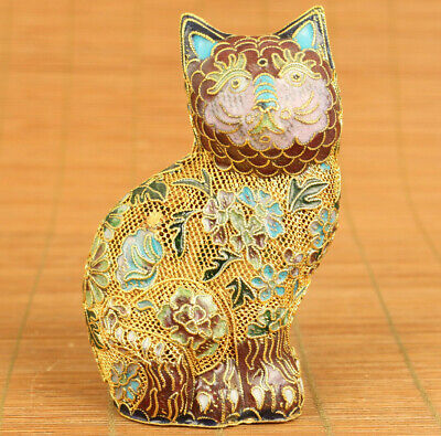 Rare chinese old cloisonne Hand carving cat statue incense burner table decorate