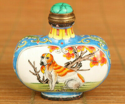 Chinese old cloisonne hand painting dog statue snuff bottle noble gift decorate