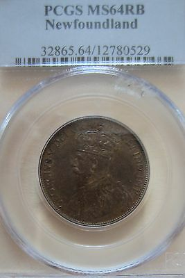 1919 Canada Newfoundland Large Cent Coin. PCGS MS-64 RED RARE 1 Penny