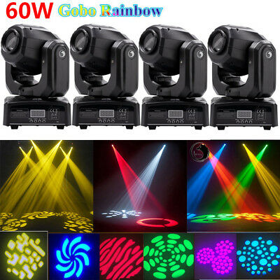 4Pack 60W RGBW Spot LED Stage Lighting Gobo Moving Head DMX Disco DJ Party Light