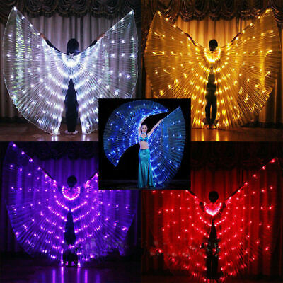 LED Womens Isis Wings Glow Light Up Belly Dancing Club Costumes New AU