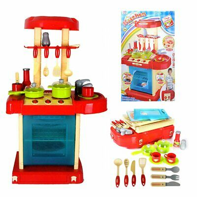 Portable Electronic Kitchen Cooking Play Set Children Kids Girls Cooker Toys Red