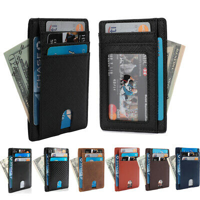 Men's Genuine Leather Slim Card Holder Wallets -Minimalist RFID Blocking