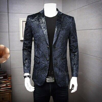 Men's Lapel Two Button Jacket Slim Fit Floral Blazer Blazer Coat Dress Formal Sz